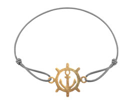 Armband Steuerrad Anker Edelstahl Gold