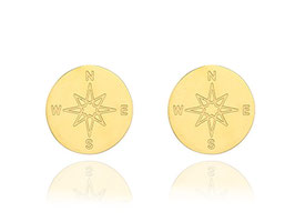 Edelstahl Ohrstecker Kompass Gold