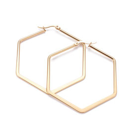 Edelstahl Kreolen Hexagon Gold 57mm
