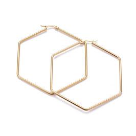 Edelstahl Kreolen Hexagon Gold 72mm