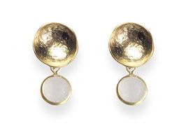 Goldene Scheiben Ohrstecker Vergoldet Glasstein Weiß