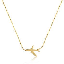 Edelstahl Kette Flugzeug Gold