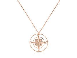 Edelstahl Kette Kompass Groß Rosegold