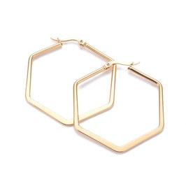 Edelstahl Kreolen Hexagon Gold 45mm