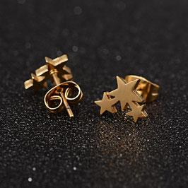 Edelstahl Ohrstecker Drei Sterne Gold