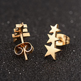 Edelstahl Ohrstecker Sternenreihe Gold