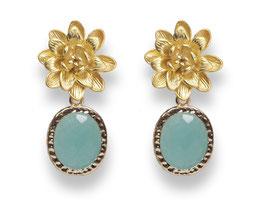 Lotusblüten Ohrstecker Vergoldet Glasstein Aqua