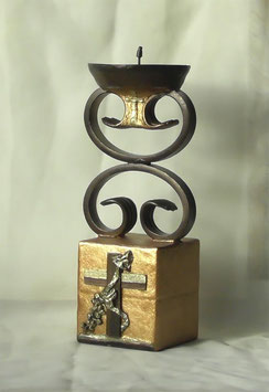 Spiritueller Kerzenständer Kreuz Ähren Stil Antik