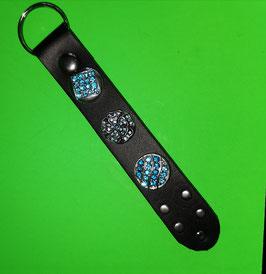 Schlüsselanhänger mit 3 Click-Button in blau