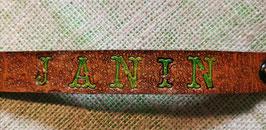 Lederarmband mit Ihrem Namen, grün