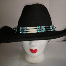 Hutband mit Howlith- und Korallenperlen (HB9)