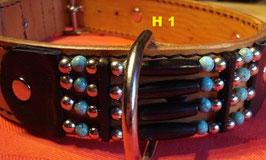 Halsband, schwarz, Howlith-u. Metallperlen