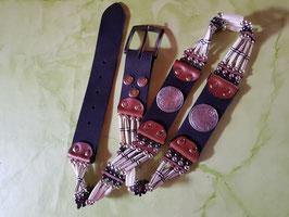 Wechselgürtel, Buckle-Gürtel, Vollrindleder, geschnitzte Bonepipes