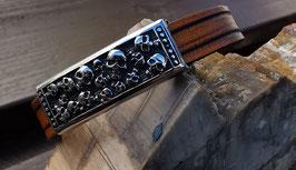 LEDER Armband, Totenkopf-Schiebeelement (Tot2)