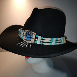 Hutband im indianischem Stil mit Zierconcha, breite Bonespacer (HB10)