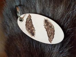 Schlüsselanhänger Federn oval