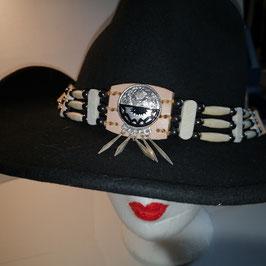 Hutband im indianischem Stil mit Zierconcha, breite Bonespacer