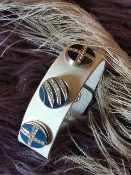 Armband, weiß, mit 3 Click-Button in blau