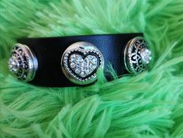 Armband, schwarz mit 3 Click-Button