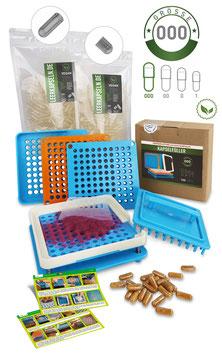 Kapselfüller + Leerkapseln | Gr. 000 | vegan PULLULAN | getrennte Kapselhälften | transparent | kein vorheriges öffnen nötig