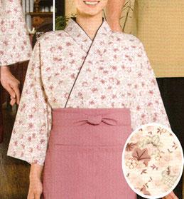SJ-4312   作務衣・上着(桜と楓・ピンク)