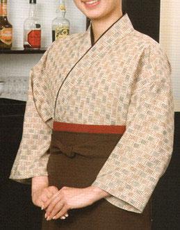 SJ-4064   作務衣・上着 (彩り石畳・薄茶)