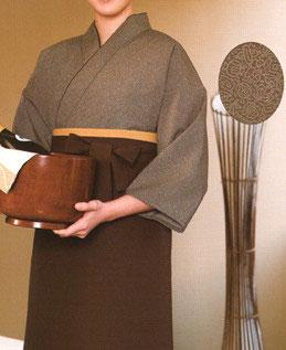 SJ-4053    作務衣・上着(縁起鮫小紋・茶)