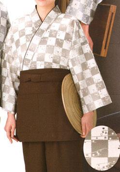 SJ-4055    作務衣・上着 (市松和モダン・茶)