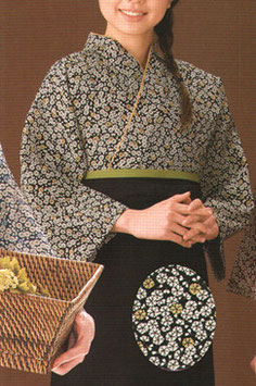 SJ-4302   本手染め作務衣・上着(小桜・黒)