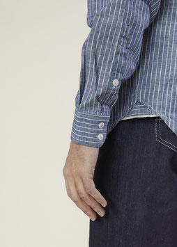 MARLON MS502 / Stand collar / 1 pocket / 4oz, 100% Cotton Indigo Pinstripe Selvedge