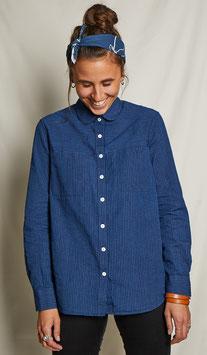 LUCY FS501 / Relaxed - round collar / 4oz, 75% cotton, 25% linen, Indigo pinstriped