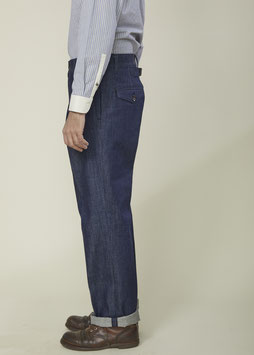 NICOLAS MP004 / Chino Tapered / Cinched Back / Natural Bio Indigo / 100% Organic Cotton 11.5oz