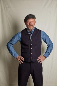 CONSTANTINE MV201/ Worker Vest / 100%  cotton 11 oz / Indigo overdyed bedford
