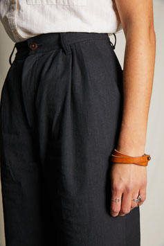 EDITH FP001 / Wide pleated culotte / black canvas
