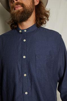MARLON MS502 / Stand collar / 1 pocket / 4,2 oz, 90% cotton, 10% wool, Herringbone blue