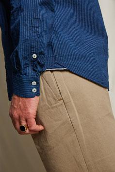 MARLON MS502 / Stand collar / 1 pocket / / 4oz, 75% cotton, 25% linen, Indigo pinstriped