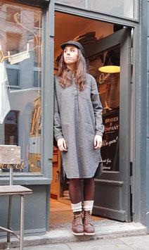 BRUNA D901 / Shirt Dress // 88% cotton, 7% viscose, 5% linen / 8,5oz Selvedge  / Brown-Grey