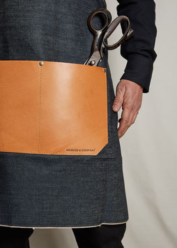 APRON MA404/ 15.5oz Selvedge Denim & Vegetable Tanned Leather Pocket