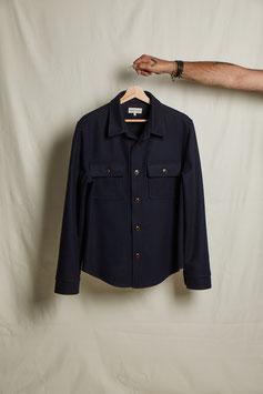 WAYNE MS508 / Worker 2 flap pockets /  100% Virgin Wool Loden, 450gr / Navy blue