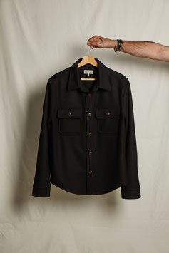 WAYNE MS508 / Worker 2 flap pockets /  100% Virgin Wool Loden, 450gr / Black