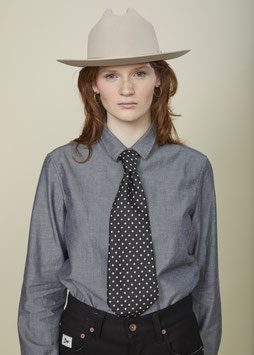 VICTORIA FS505 / Relaxed - small pointed collar / 4.3 oz, 90% cotton, 10% Wool Fine Chevron - Grey -