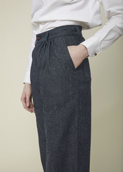 EDITH FP001 / Wide pleated culotte / 11oz Cotton-Wool Dobby