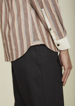 CHARLIE MS511 / Classic stand collar / 5 oz,  100% cotton / Heritage Stripe Brown & Beige