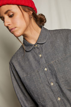 LUCY FS501 / Relaxed - round collar / 8.3 oz selvedge, 90%ctn, 10%linen, Brown-Grey