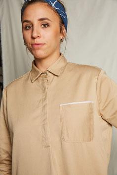 BRUNA D901 / Shirt Dress // 100% cotton, 7oz selvedge / Beige