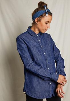 LUCY FS501 / Relaxed - round collar / 7 oz selvedge, 60%ctn, 40% linen, Pure Indigo