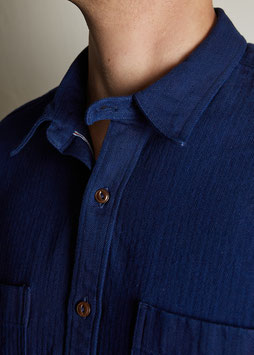 LUTHER MS507 / Worker with classic collar / 10 oz, 100% cotton, Selvedge Chevron Indigo Overdyed
