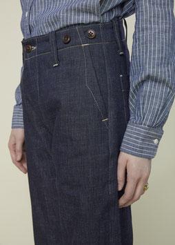 HOLIDAY FP003 / Straight Worker Pants / Indigo crosshatch canvas