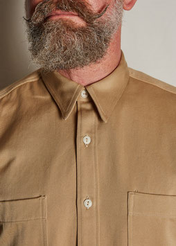 LUTHER MS507 / Worker with classic collar / 7 oz, 100% cotton, White Selvedge Twill / Beige & Olive