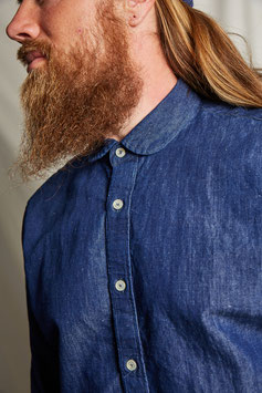 AESOP MS503 / Classic club collar / 7 oz Selvedge, 60% cotton, 40% linen, Pure Indigo